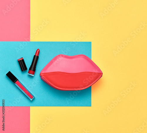 Foto Murales Fashion Cosmetic Makeup Set. Beauty Essentials.