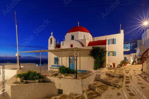 Foto Murales Mykonos. Traditional building of the Greek Church.