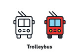 Red Trolleybus Transport Front View Minimal Color Flat Line Outline Stroke Icon