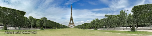 Amazing wide panorama of Champs de Mars and Eiffel tower in paris, no people - 202074623