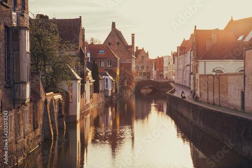 Fotobehang Brugge Historic city of Brugge at sunrise, Flanders, Belgium