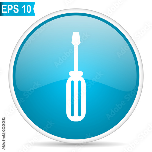 Tool blue glossy round vector icon in eps 10. Editable modern design internet button on white background.