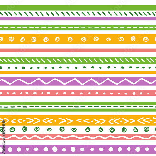 Seamless ethnic pattern with soft color stripes. Repeat straight cute stripes texture background, vector.