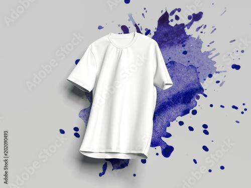 White T-shirt on light background, 3d rendering
