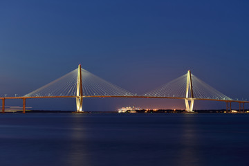 Arthur Ravenel Jr. Bridge - Night view of Arthur Ravenel Jr. Bridge, Charleston, South Carolina.
