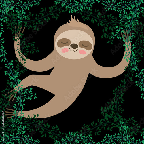 Fotobehang Zoo sloth in the jungle scene vector illustration design