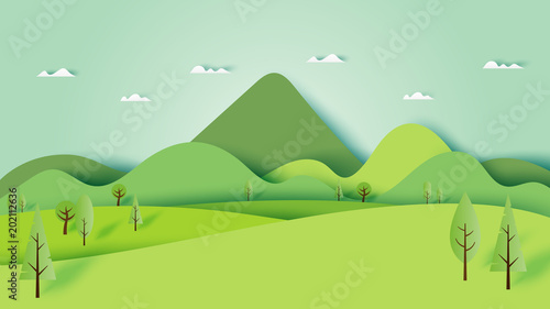 Fotobehang Lime groen Green nature forest landscape scenery banner background paper art style.Vector illustration.
