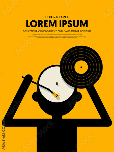 Fotobehang Muziek Music retro vintage abstract poster background