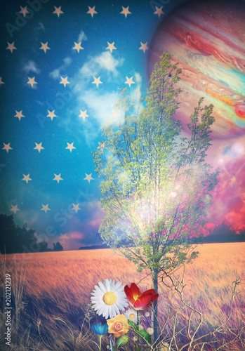 Canvas Imagination Fairyland - Starry night, tree and colored flowers