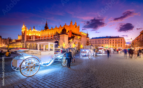Fototapeta Old town market square of Krakow, Poland.