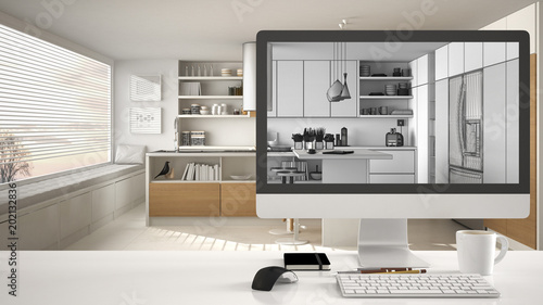 Architect House Project Concept Desktop Computer On White Work Desk