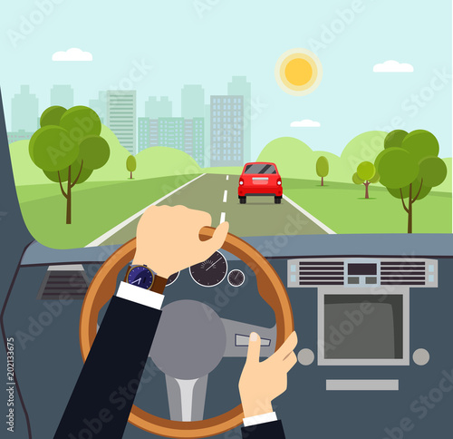 Man hands of a driver on steering wheel of a car. Vector flat style illustration - 202133675