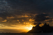 Quadro View of the mountains and Ipanema beach in Rio de Janeiro, Brazil, at the sunset from Praia do Arpoador