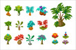 Colorful fantasy tropical trees and plants, nature details for computers game interface vector Illustrations on a white background