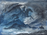 Акварельная иллюстрация, фантастический пейзаж с женщиной всадницей в ночном небе. - 202141648