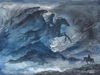 Акварельная иллюстрация, фантастический пейзаж с женщиной всадницей в ночном небе.