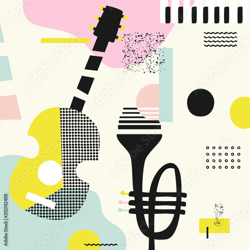 Music colorful background with guitar, trumpet and piano keys isolated vector illustration. Geometric music festival poster, creative music instruments design © abstract
