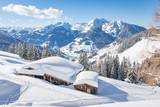 Beautiful winter mountain landscape with snowcapped wooden hut - 202147082