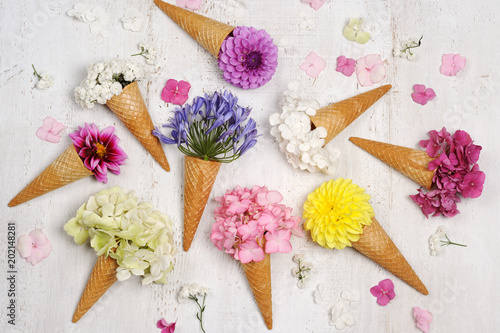 Sticker ice cream cones with beautiful flowers