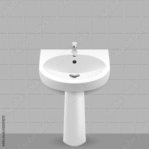 Bathroom interior with white sink. Wash basin Vector illustration