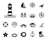 Meer und Küste - Iconset (in Schwarz)