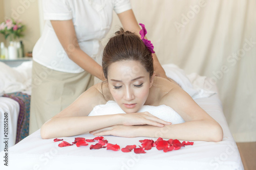 beautiful and healthy cute girl relax at beauty spa salon massage © suphaporn