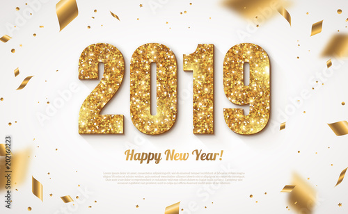 2019 New Year with confetti