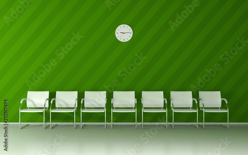 Soft green waiting room with green nice striped wall, white chairs and wall clock 3D render - 202167484