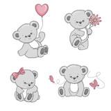 Set of cute cartoon Teddy Bears isolated on white background. Vector illustration.