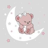 Cute teddy bear girl on the moon. Baby print, vector illustration.
