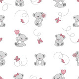 Seamless pattern with cute cartoon Teddy bears. Vector background for kids design. Baby print. - 202172094