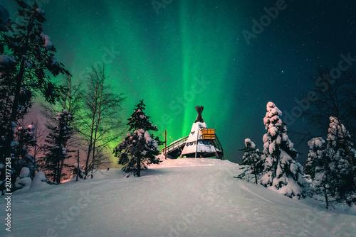 Fotobehang Noorderlicht Aurora Boreal Ounasvaara Fell - 1