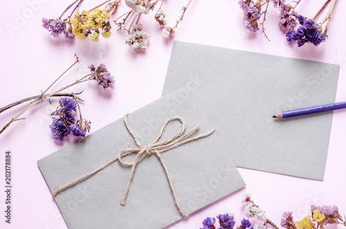 decorative letter envelopes message present eco paper pink background wedding invitation cards love color flowers