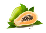 Ripe papaya with leaves on white background