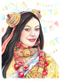Beautiful, young Tibetan woman with beads - 202186450