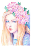 Beautiful blonde girl with a wreath of flowers - 202186470