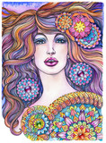 portrait of beautiful woman, girl with long hair and mandalas - 202187410