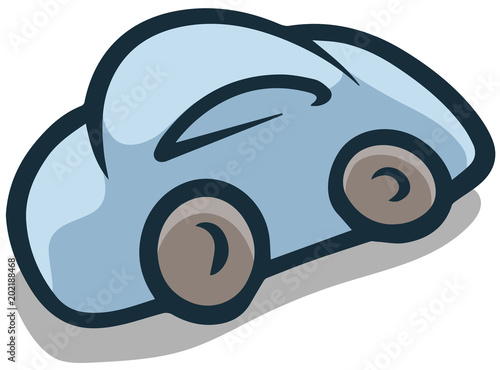 Fotobehang Auto Cartoon flat blue car vector icon