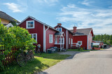 Fisherman village in Sweden at summer. View at a Swedish village on a lake. - 202193083