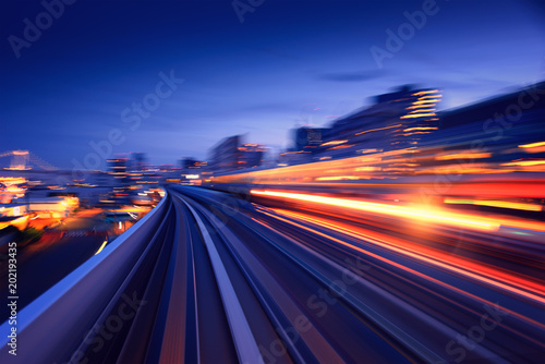 Subway tunnel with Motion blur of a city from inside, monorail in Tokyo © dell
