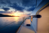 Beautiful view to catamaran in Seychelles bay at sunset - 202193813