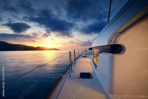 Plexiglas Tokio Beautiful view to catamaran in Seychelles bay at sunset