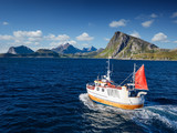 Fishing boat in Norway fjord - sea in lofoten amazing nature. - 202194235