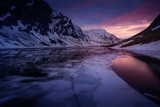 Norway Glacier lake after sunset - drone photo, ice in foreground - 202194643