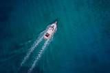 Vintage wooden boat in coral sea. Boat drone photo. - 202194657