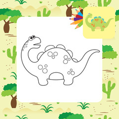 Cute cartoon dino coloring page
