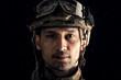 Macro view of military man
