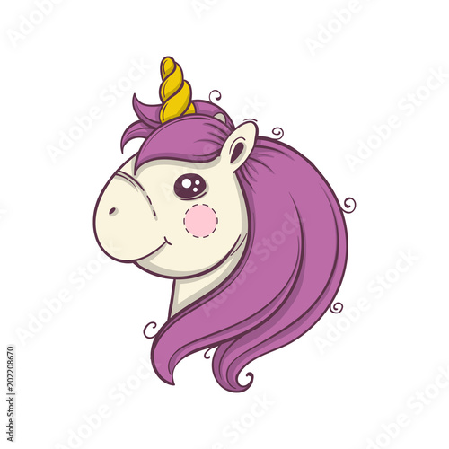 Cute cartoon unicorn head emoji. Vector illustration.
