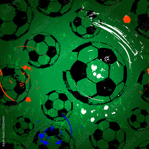 Fotobehang Abstract met Penseelstreken Football / soccer seamless background pattern, international football tournament, grunge style