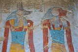 Painting of Egyptian god of Anubis and another god in the Valley of Kings in Luxor, Egypt - 202214479